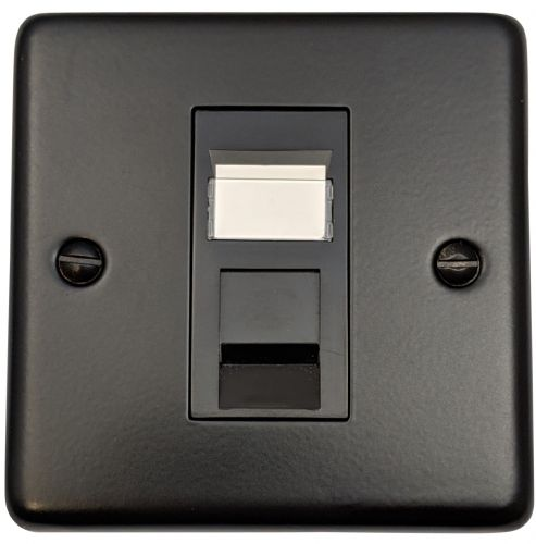 G&H CFB61B Standard Plate Matt Black 1 Gang RJ45 Cat5e Data Socket